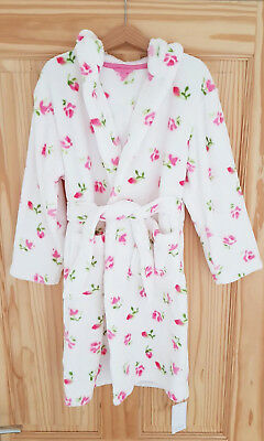 Mothercare Girls White Pink Floral Hooded Dressing Gown Robe Large 6 8 years NEW