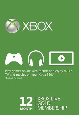 Microsoft Xbox One/360 12 Month Live Gold Membership - FAST DELIVERY!!