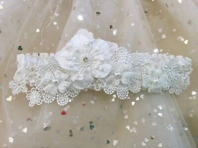 Sz 10-12 Brides white Wedding Day Garter, Australian Made One Of A Kind