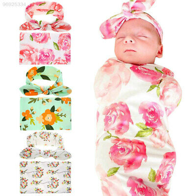 08D9 with Headwear Baby Swaddle Accessorie Photography Soft Baby Sleeping Wrap