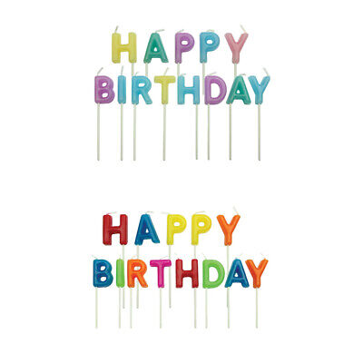 PME 13 Set HAPPY BIRTHDAY Text Candles Party Celebration Topper for Cake Cupcake