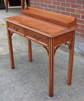 George III antique style English yew wood 6 drawer writing console table desk