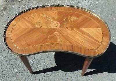 Edwardian antique kingwood French floral marquetry kidney shape side lamp table