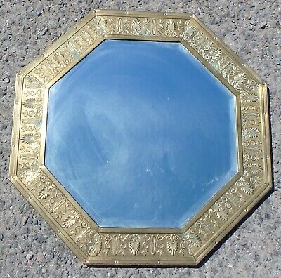 Edwardian antique Classical embossed brass acanthus brass wall hall pier mirror