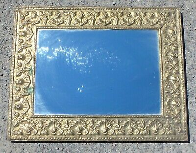 Edwardian antique Classical brass scallop embossed wall hall dressing mirror