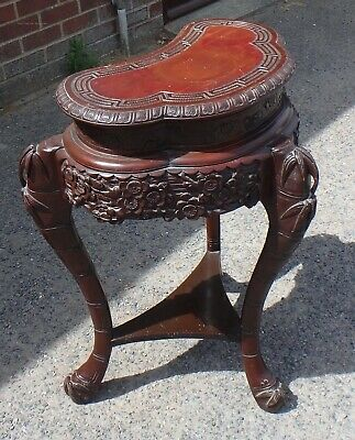 French antique Aesthetic movement Chinese style carved mahogany lamp side table