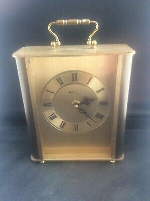 Vintage AVIA Working 1970s Heavy Brass Quartz Clock German HERMLE movement