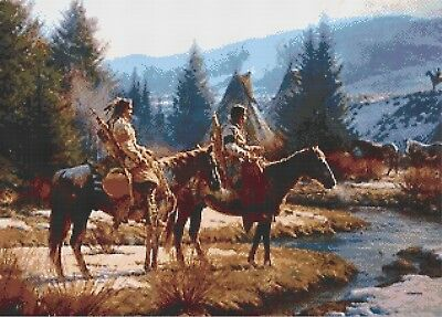 Native Indian - River Camp - Counted Cross Stitch Chart