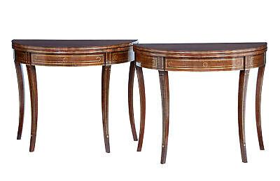 Pair Of 19Th Century Mahogany And Brass Inlaid Tea Tables