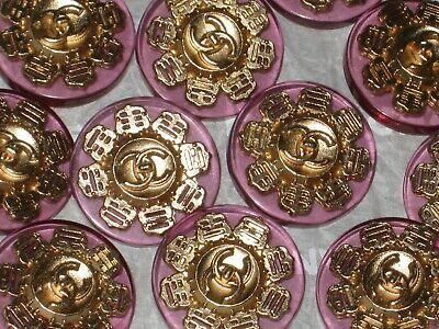 Chanel 6  Matte Gold Metal  Pink Lucite  Buttons 18 Mm/ 3/4'' New  Cc Logo Lot 6