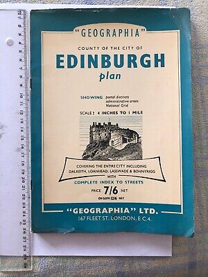 Vintage Geographia Edinburgh Map Plan Street Index