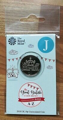 Royal Mint New 10p coin 2018 letter J Jubilee in sealed pack