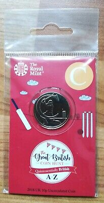 Royal Mint New 10p coin 2018 letter C Cricket in sealed pack