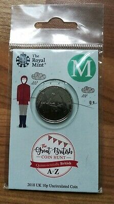 Royal Mint New 10p coin 2018 letter M Mac Macintosh in sealed pack