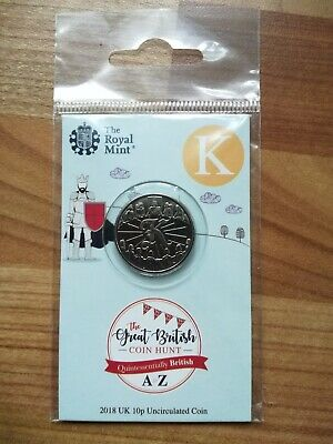Royal Mint New 10p coin 2018 letter K Knight King Arthur in sealed pack