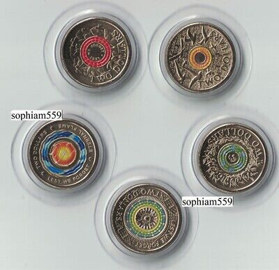 5 x Australia 2018 $2 30th UNC coloured coin Lest We Forget Remembrance Flame