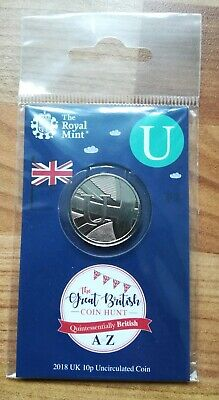 Royal Mint New 10p coin 2018 letter U Union Jack in sealed pack