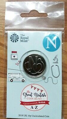 Royal Mint New 10p coin 2018 letter N NHS in sealed pack