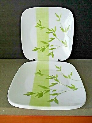 "Set of 4 Corelle RIVAGE Design 10.5"" Dinner Plates White with Green Leaves"