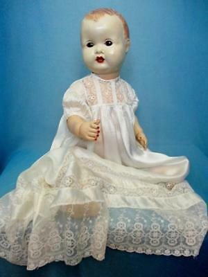 Antique Oyster Silk Christening Gown For Large Baby Doll or Teddy Bear