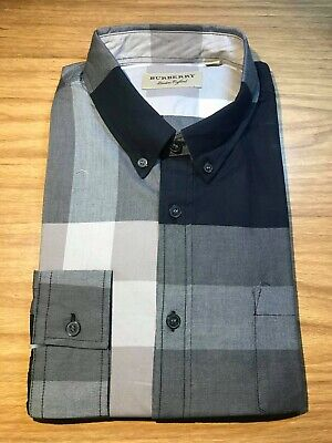 d95214ed1c3ee4 BURBERRY Button-down Collar Check Stretch Cotton Blend Shirt Long Sleeves