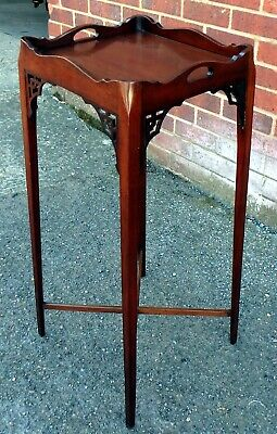 Victorian antique Georgian Chinese Chippendale style mahogany kettle stand table