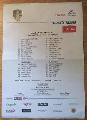 Leeds United v Reading Teamsheet Sky Bet FLC 14/10/17 (2017/2018)