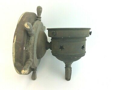 Ships Wheel Nautical Porcelain Socket Copper & White Metal Wall Sconce Parts