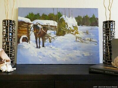 North Village Winter Landscape Horse Oil Canvas Painting Russian Signed Listed