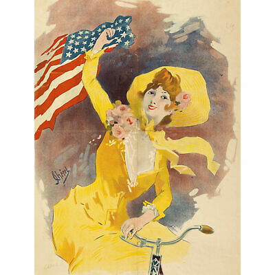 Cheret Cleveland Cycles Bicycle USA Flag Advert Extra Large Art Poster