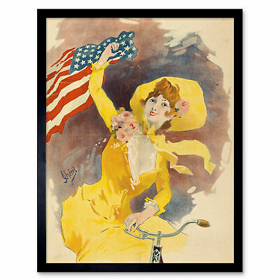 Cheret Cleveland Cycles Bicycle USA Flag Advert Framed Wall Art Poster