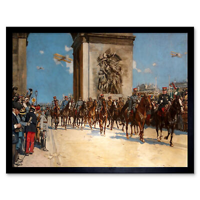 Flameng Victory Parade Arc Triomphe WWI War Painting Framed Wall Art Poster