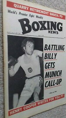 Aug 4Th  1972  Boxing News Billy Taylor../ Jake Lamotta../Jerry Quarry