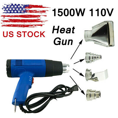 US 1500W Dual-Temperature Heat Gun + 4pcs Stainless Steel Concentrator Tips Blue