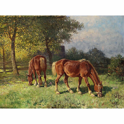 Van Der Venne Horses In Pasture Painting Extra Large Art Poster
