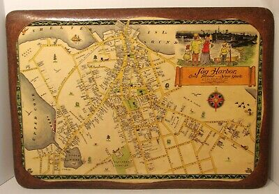 Vintage Antique Plaque Mounted Map SAG HARBOR, N.Y. 1873 Catherine & E. Theodore