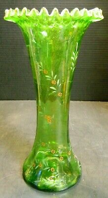 Antique Hand Painted & Blown Bristol Green Ruffle Vase Orange Blossoms Excellent