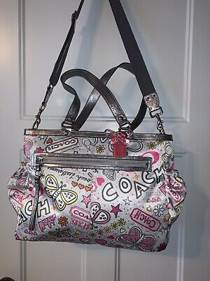 Authentic Coach Multi Function Baby Diaper/gym Light Gray, Pink Tote X-Large.