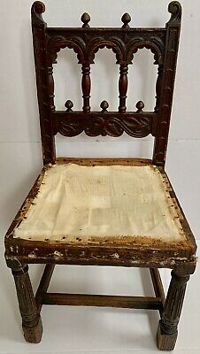Rare Cathedral 17C Antique Gothic Wood Carved Chair Folk Banister Bishop Throne