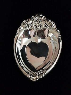 """""""Rose Point"""" Wallace Sterling Silver Candy Dish Heart Shape #4630"""