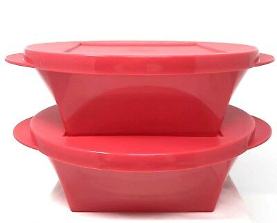 Tupperware Clear Impressions Bowl Set of 2 Red 2.5 Cup Capacity New