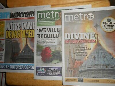 3 Different Newspapers w/Cover/Article on Paris Notre Dame Cathedral Fire 2019