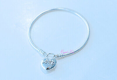 1bc0808cf Authentic Pandora You Are Loved Heart Smooth Silver Padlock Bracelet  597806-20