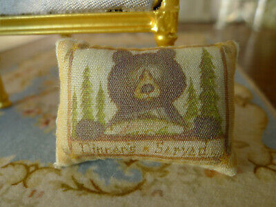 Dollhouse Lovely Brown Bear & Pine Forest Miniature Pillow 1/12 Scale