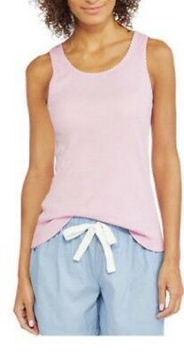 new 2 Hanes Women's Knit Essential Ribbed Sleep Tank Top in Heather Pink Large