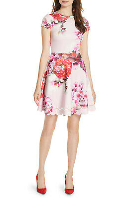 f31de4ffc new Ted Baker London Seeana Splendour Cap Sleeve Skater Dress in Pink Ted3  US8