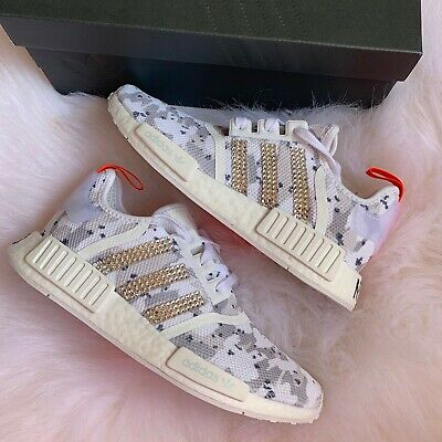 d4fe4450d3f98 Crystal Bling Adidas NMD R1 White Camo Sneakers Size 6 BRAND NEW NIB G27933
