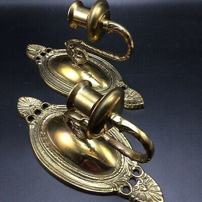 2 Vintage Brass Sconces Candle Holders Wall Decor Tapers Votives Heavy Korea