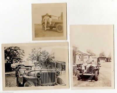 African American Army Soldiers In Military Jeeps Vintage Wwii Snapshot Photos