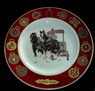 Royal Avon Suffolk Punch Heavy Horses signed D P Mills Bone China 10 ¾ in Plate